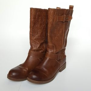 Coach Virginia Leather Logo Boots Brown Sz 7